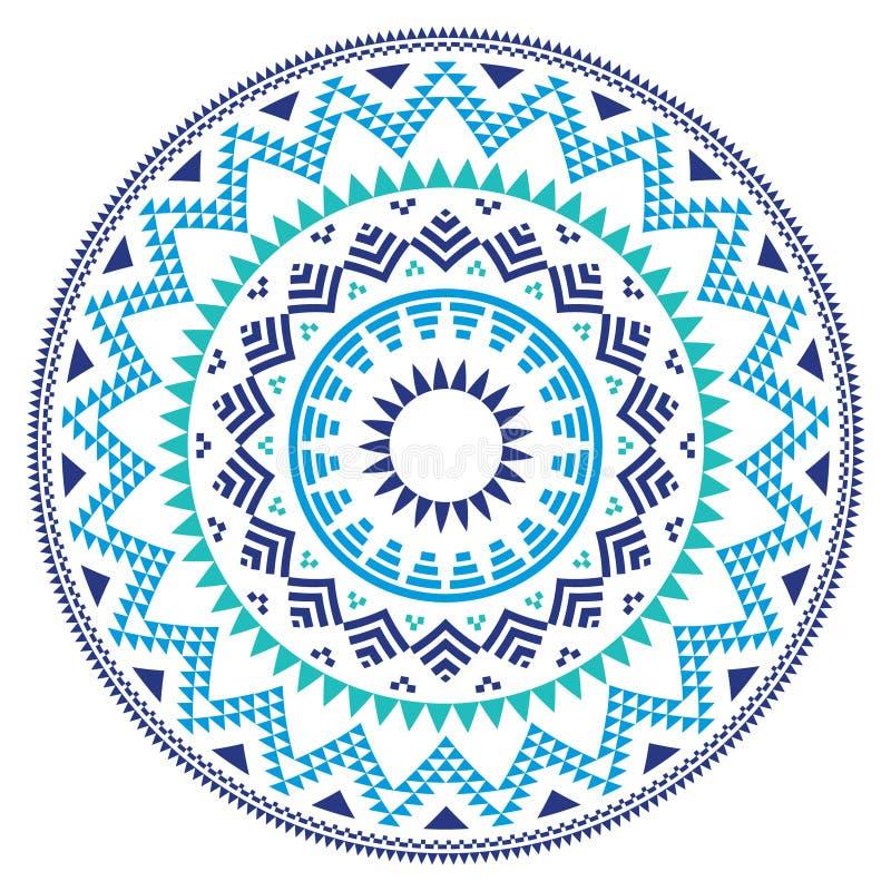 Stammen volks Azteeks geometrisch patroon in cirkel - blauw, marine en turkoois royalty-vrije illustratie