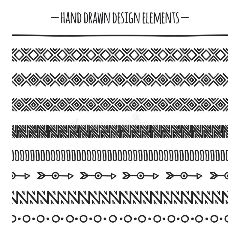 Stammenborstels Grens De etnische hand getrokken vectorreeks van de lijngrens Het element van het ontwerp Inheemse borstels Geome stock illustratie