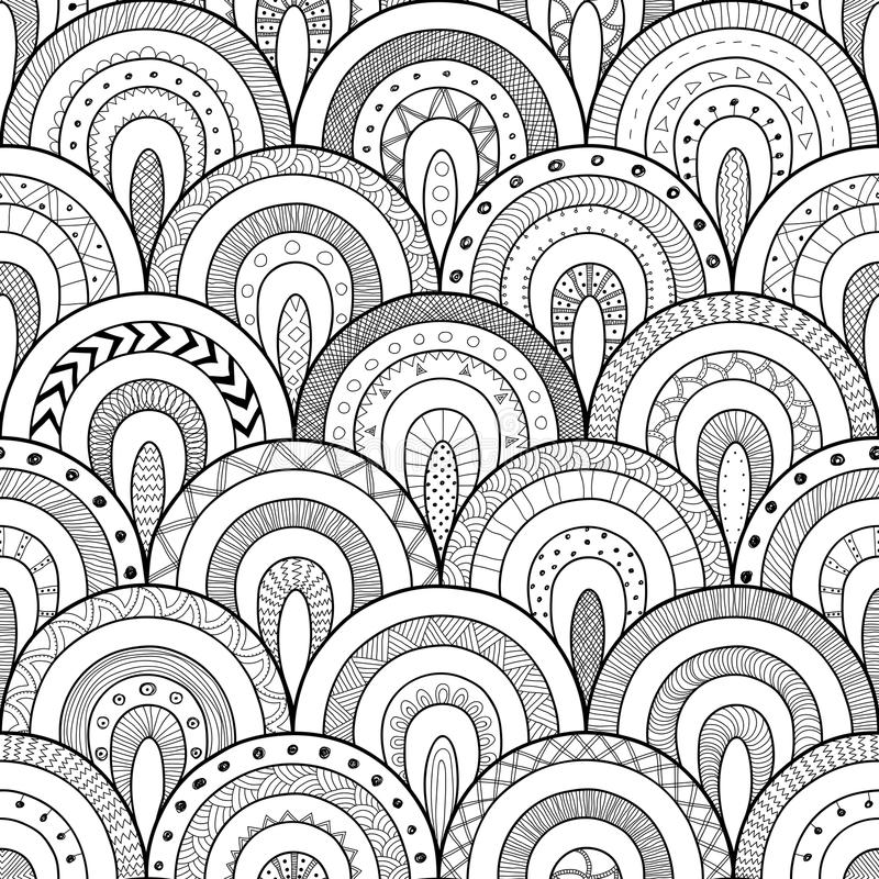 Stammencontour naadloos patroon, Indische of Afrikaanse etnische lapwerkstijl Ronde tegels met hand getrokken textuur royalty-vrije illustratie