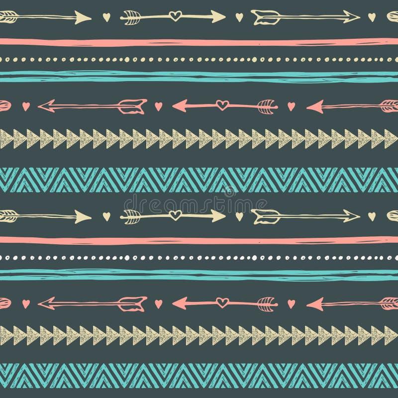 Stammenhand getrokken achtergrond, het patroon van de ethiekkrabbel royalty-vrije illustratie