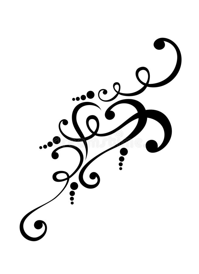 Stammenharttatoegering met de decoratie van het krulornament vector illustratie