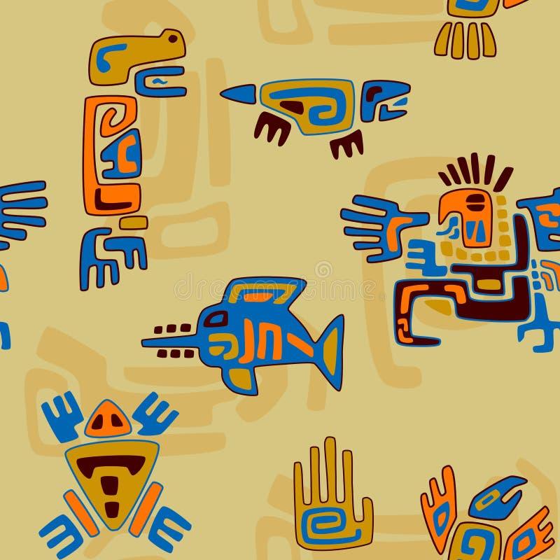 Stammenpatroon met gestileerde dieren en symbolen vector illustratie
