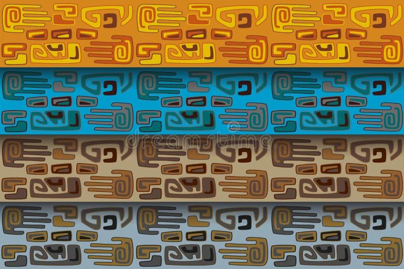 Stammenpatroon in verschillende kleurenwaaiers stock illustratie