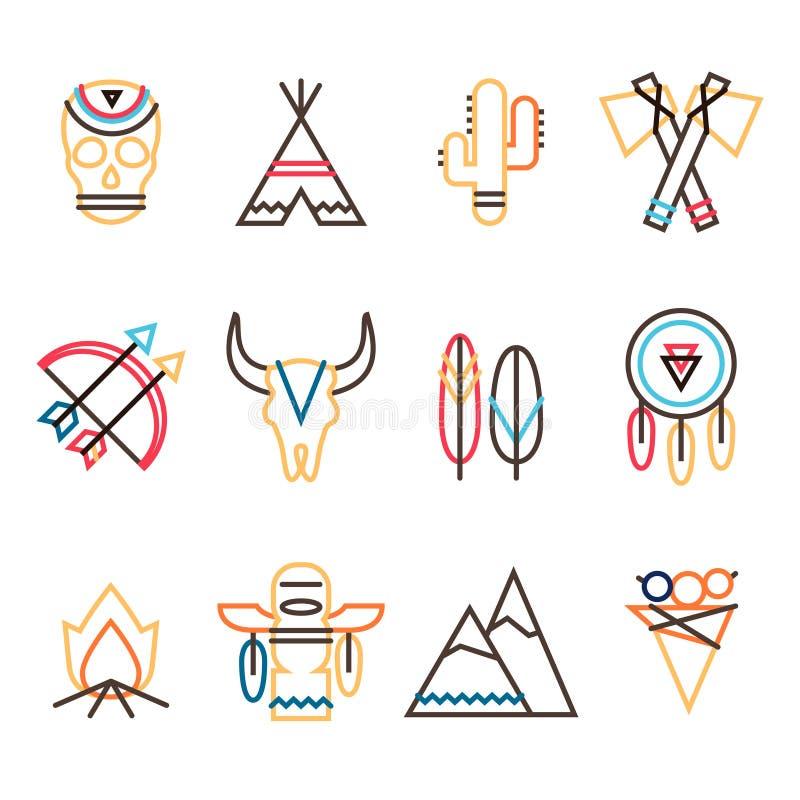 Stammenpictogramreeks stock illustratie