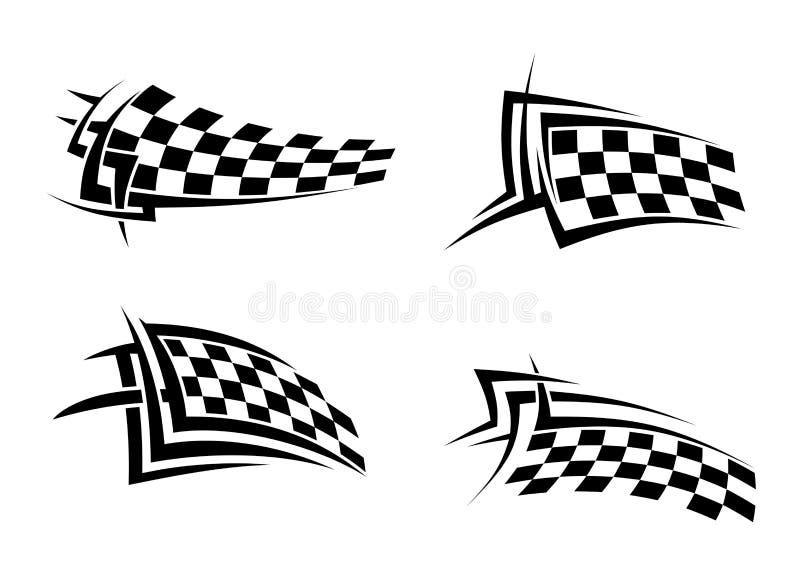 Stammentekens met geruite vlaggen stock illustratie