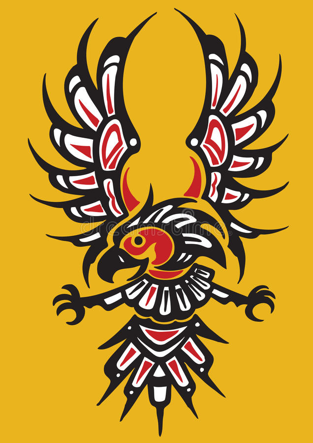 Stammes- Adlertätowierung stock abbildung