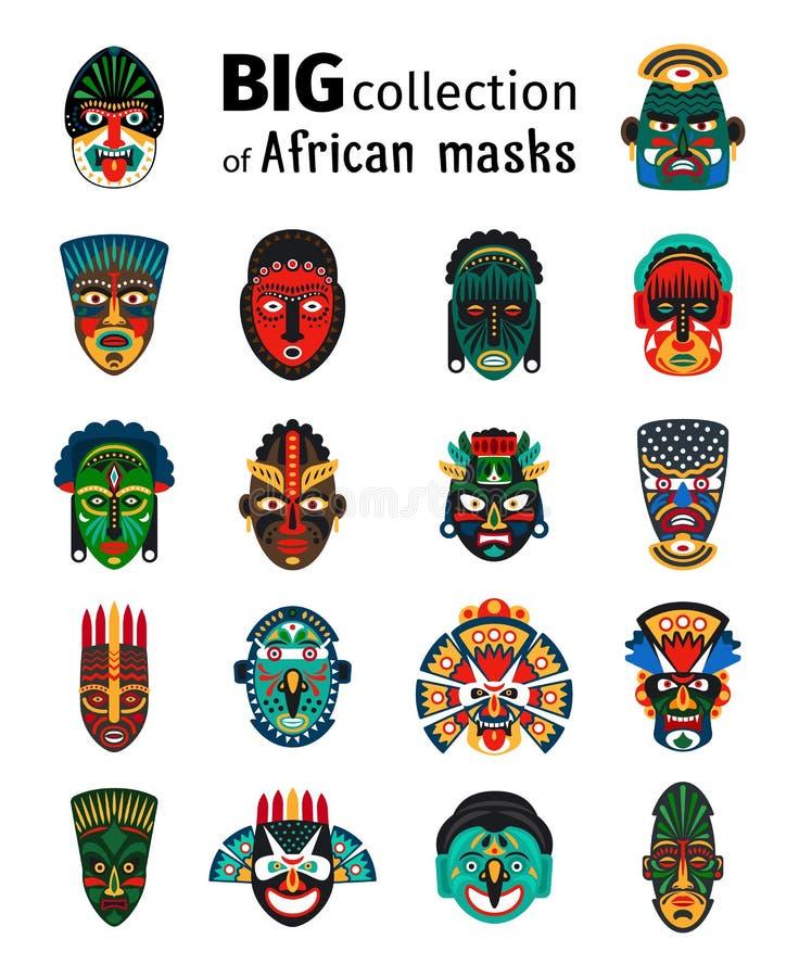 Stammes- afrikanische Masken eingestellt vektor abbildung