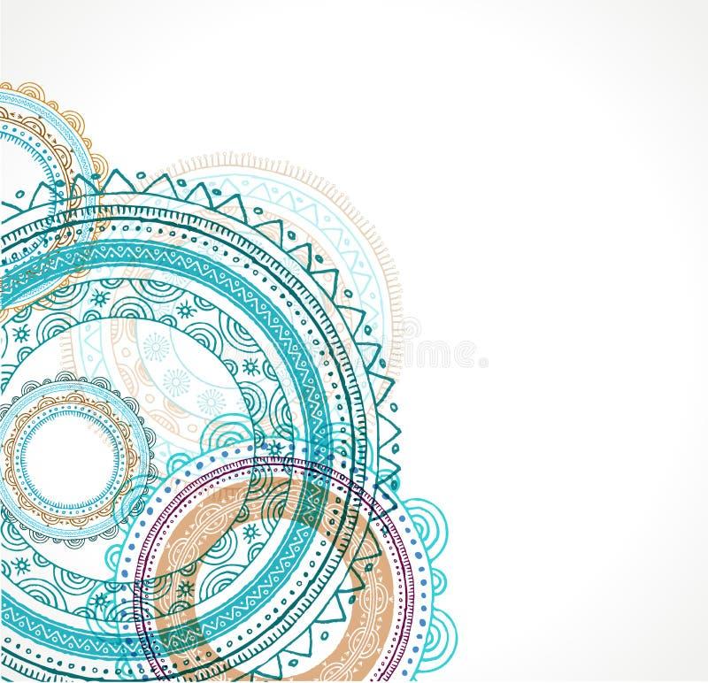 Stammes- böhmischer Mandalahintergrund mit rundem stock abbildung