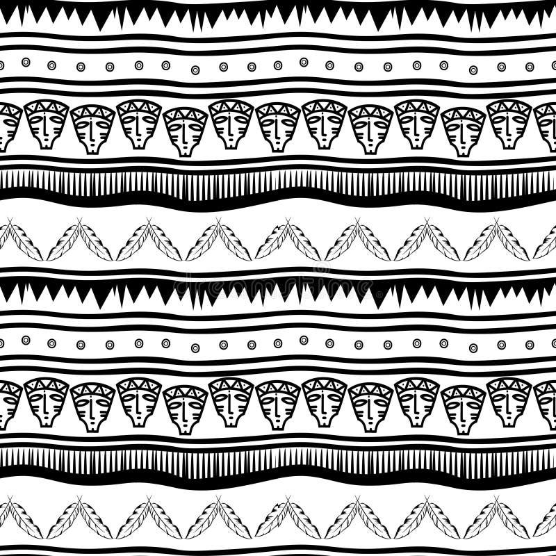Stammes- ethnisches nahtloses Muster des alten Mayas mit Schwarzweiss-Farbvektorillustration für die Modetextildruck und -verpack stock abbildung
