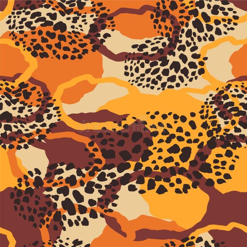 Stammes- ethnisches nahtloses Muster mit Tierdruck lizenzfreie abbildung