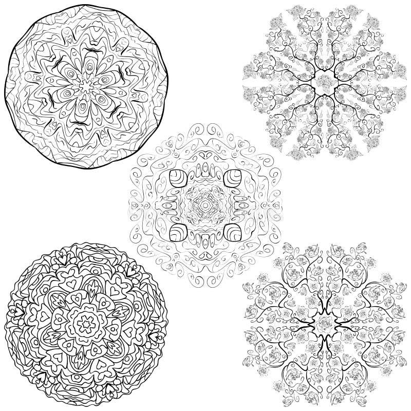 Stammes- gebürtige Mandalablumen der Art fünf eingestellt stock abbildung