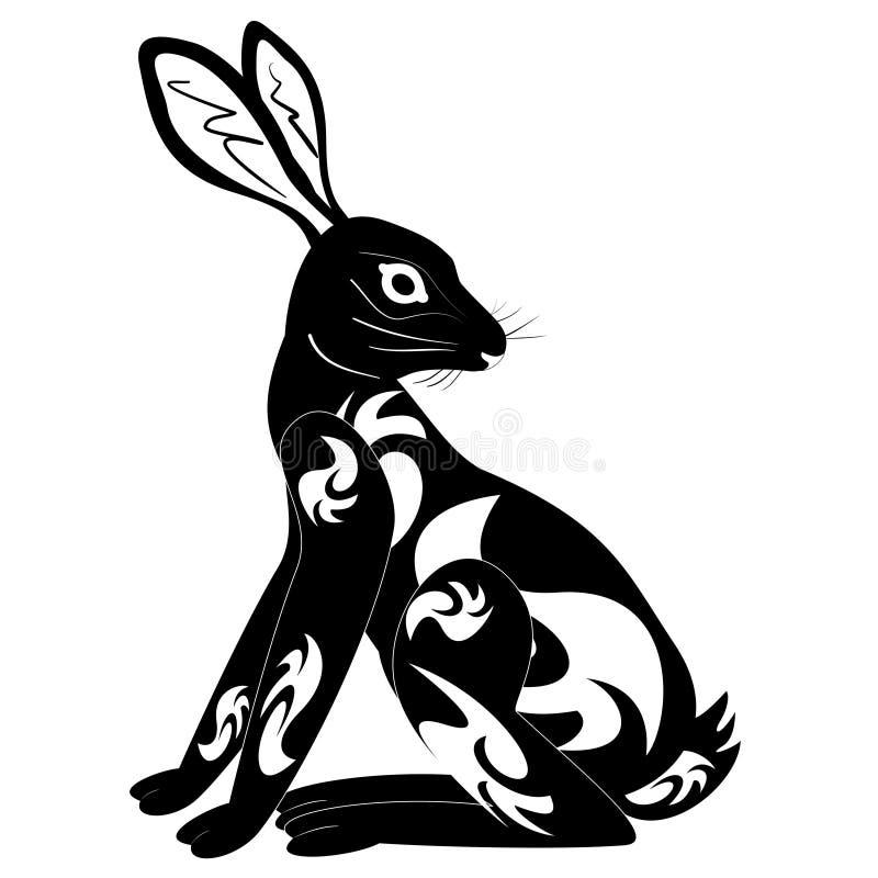 Stammes- Kaninchentätowierung der Verzierungsdekoration lizenzfreie abbildung