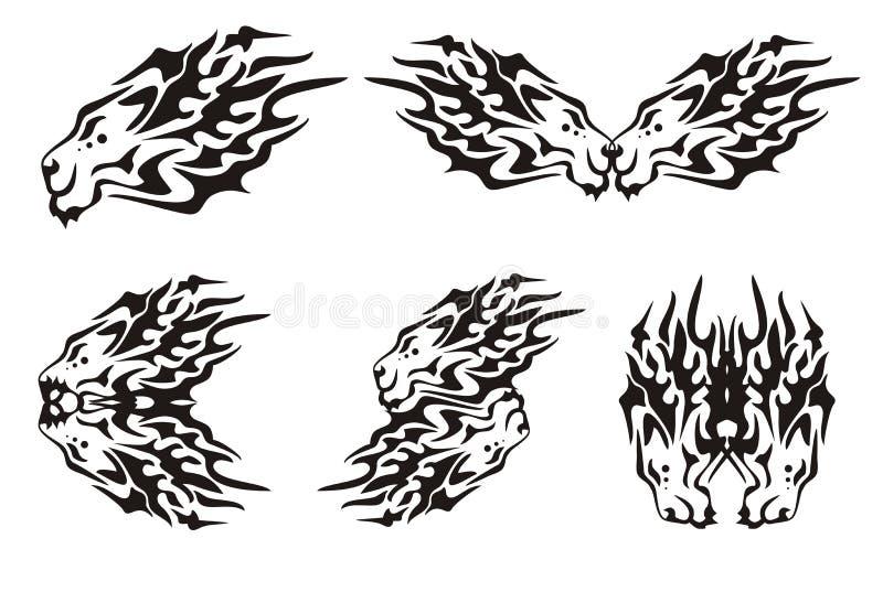 Stammes- lodernde Symbole der Löweköpfe stock abbildung