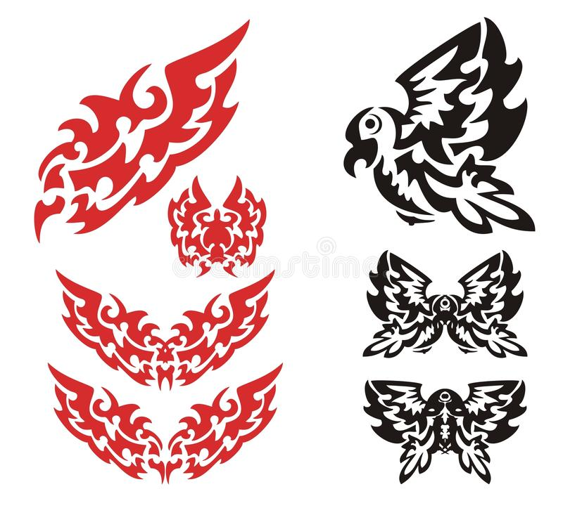 Stammes- lodernder Adlersatz lizenzfreie abbildung