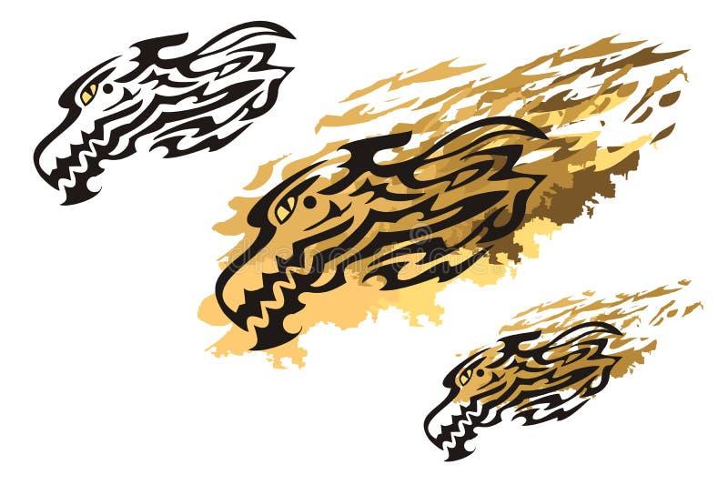 Stammes- lodernder Drachekopf und Drache spritzt vektor abbildung