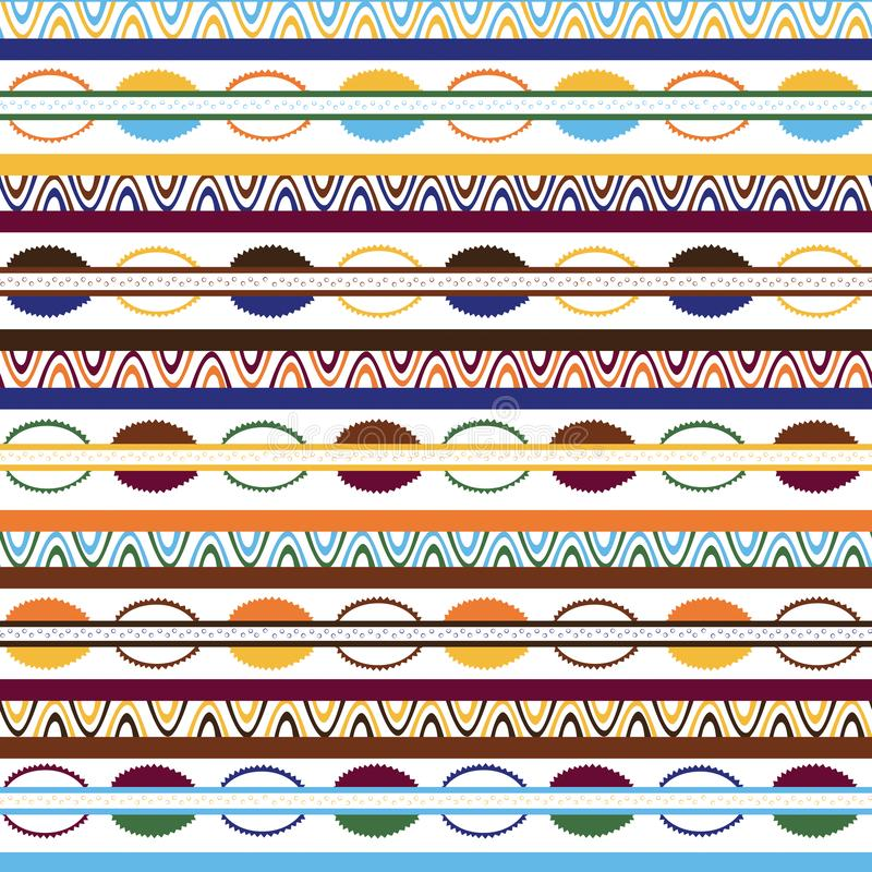 Stammes- Muster mit Motiven von afrikanischen Stämmen von Mittel-Kenia vektor abbildung