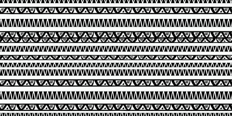 Stammes- Mustervektor mit Schwarzweiss-Handgezogenem ethnischem Symbol Alter zeichnender Hintergrund des Zusammenfassungsafrikane stock abbildung