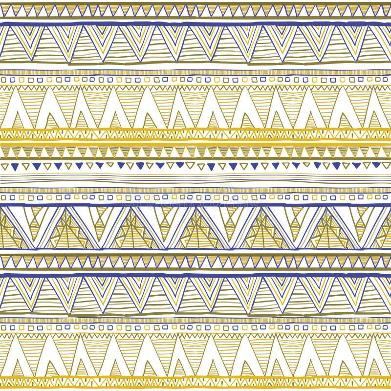 Stammes- nahtloses geometrisches Muster, ethnische Motive in der Volksart, Beschaffenheit, Hintergrund gelber ethnischer nahtlose vektor abbildung