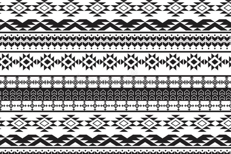 Stammes- nahtloses Muster der Navajoweinlese, Hand gezeichnet lizenzfreie stockfotos