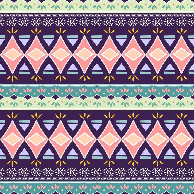 Stammes- nahtloses Sparrendreieckmuster Dekorative traditionelle Weinlese des afrikanischen Druckes Bunter abstrakter Hintergrund vektor abbildung