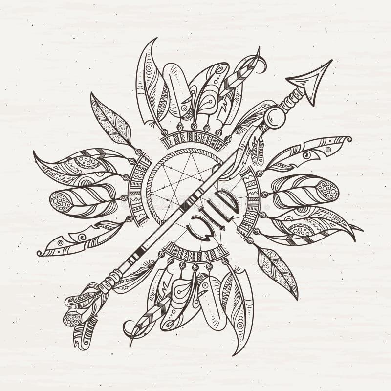 vector illustration mit stammes rahmen mit ethnischen