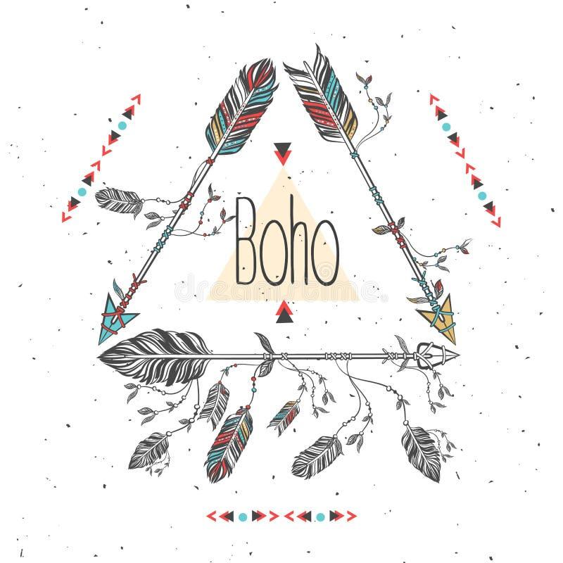 Download Stammes Rahmen Mit Pfeilen Und Federn Ethnische Boho Art Vektor Abbildung