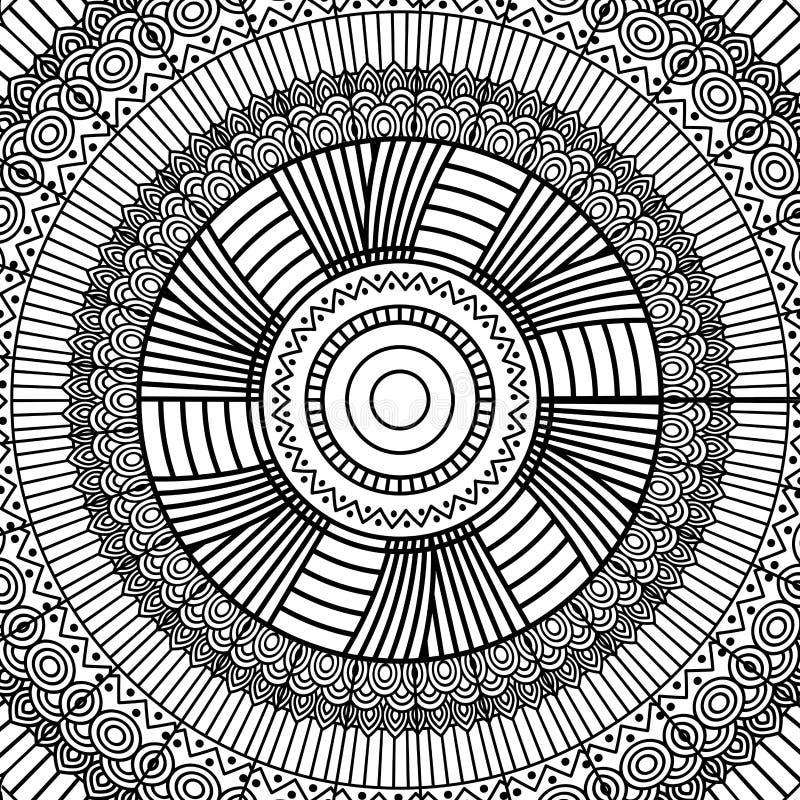 Stammes- runde Verzierungsdekoration der geometrischen Schwarzweiss-Mandala für erwachsenes Malbuch lizenzfreie abbildung