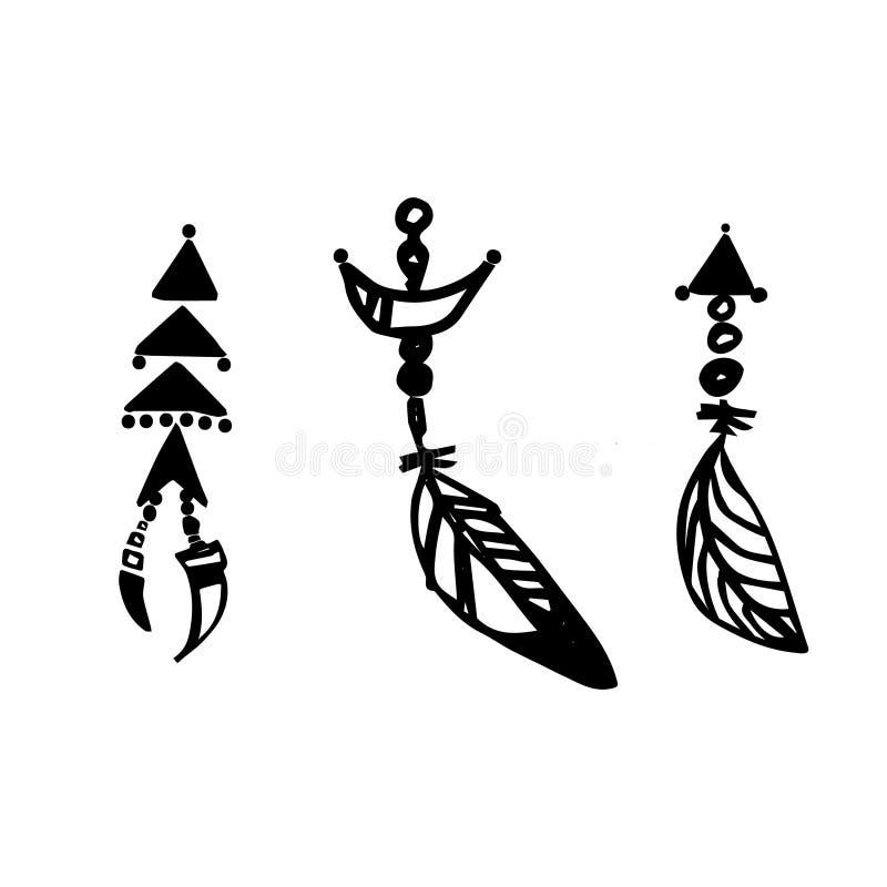 Stammes- Satz der Boho-Feder-Dekoration Handgezogene schwarze Tinten-Vektorillustration stock abbildung