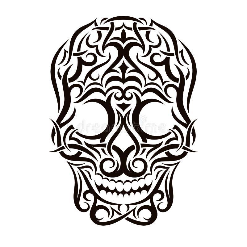 Stammes- Schädel der Tätowierung Einfach zu bearbeiten lizenzfreie abbildung
