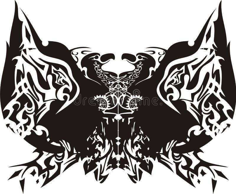 Stammes- Schmetterlingsflügel mit Adlern nach innen vektor abbildung