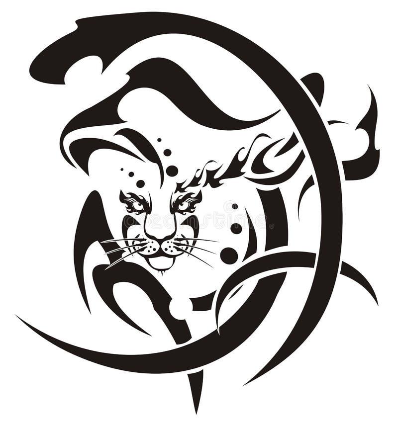 Stammes- Schneeleopard-Kopfsymbol lizenzfreie abbildung