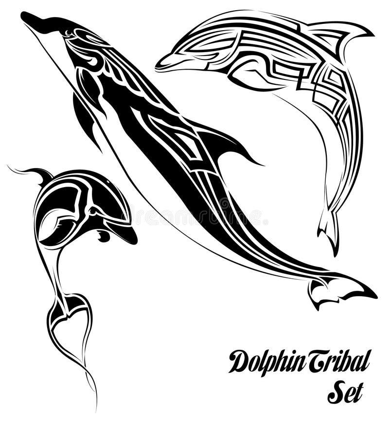 Stammes- Set des Delphins lizenzfreie abbildung