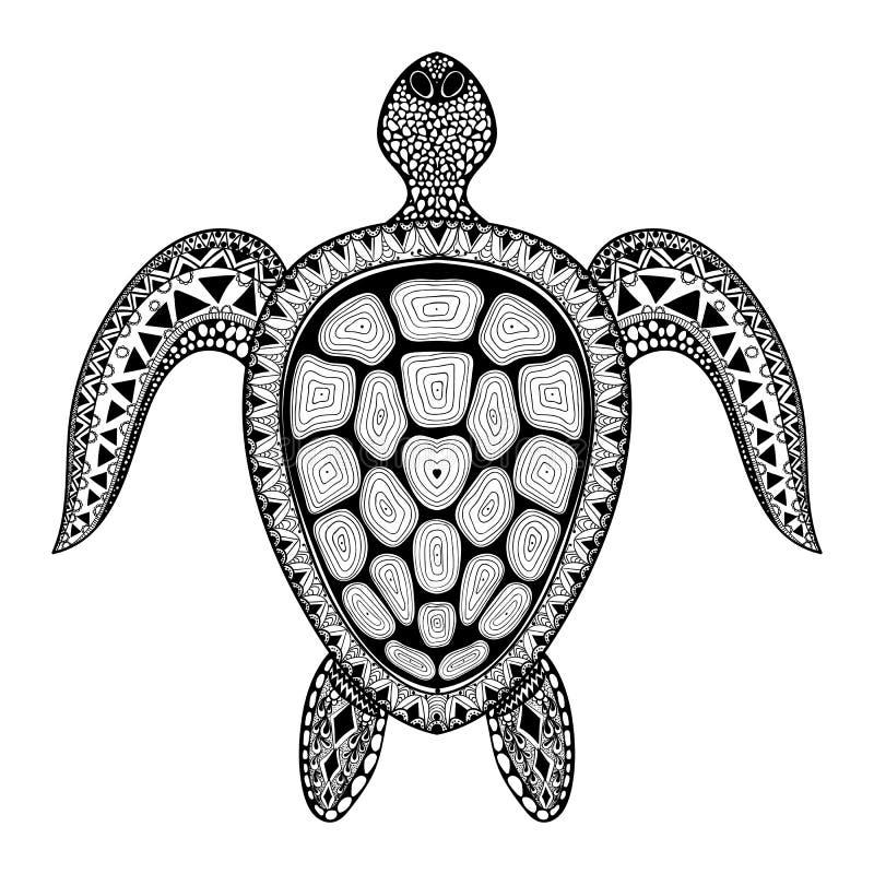 Stammes- stilisierte Schildkröte Zentangle Hand gezeichnetes Wassergekritzel vect lizenzfreie abbildung