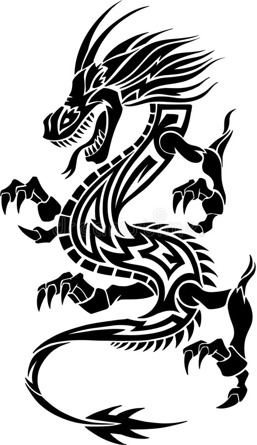 Stammes- Tätowierung-Drache lizenzfreie abbildung