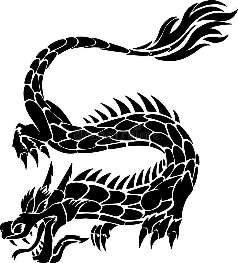 Stammes- Tätowierung-Drache vektor abbildung
