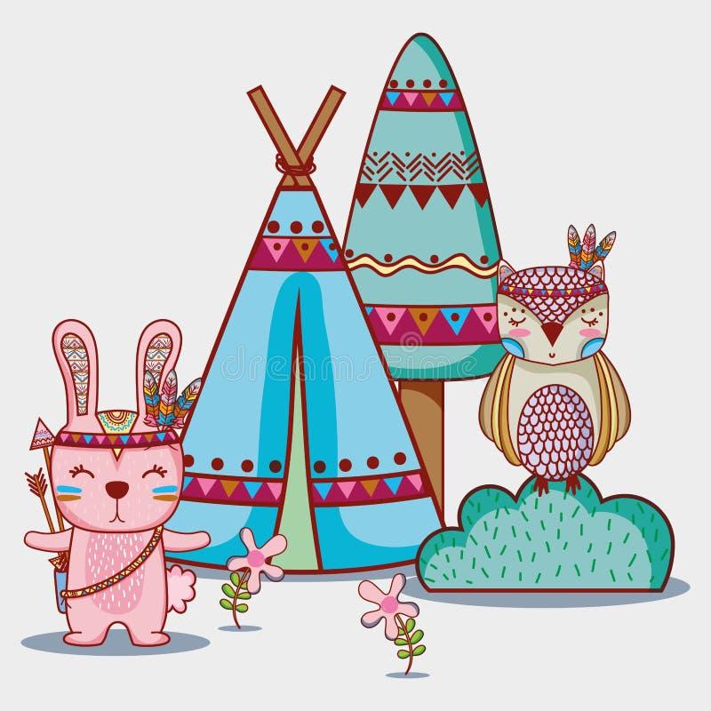 Stammes- Tier des Kaninchens und der Eule im Wald lizenzfreie abbildung