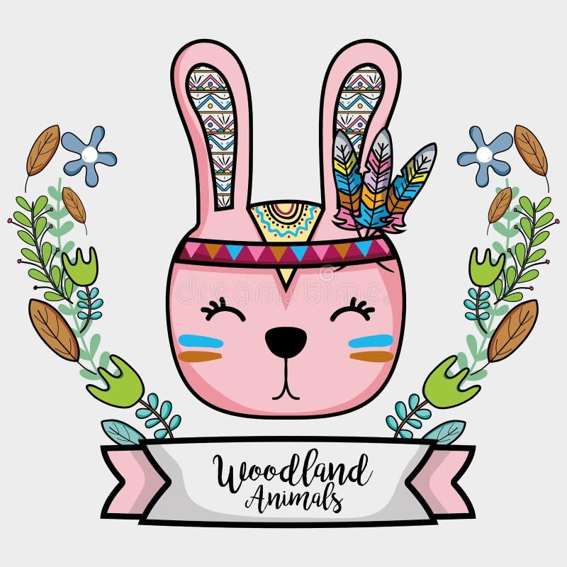 Stammes- Tier des netten Kaninchens mit Federn und Band stock abbildung