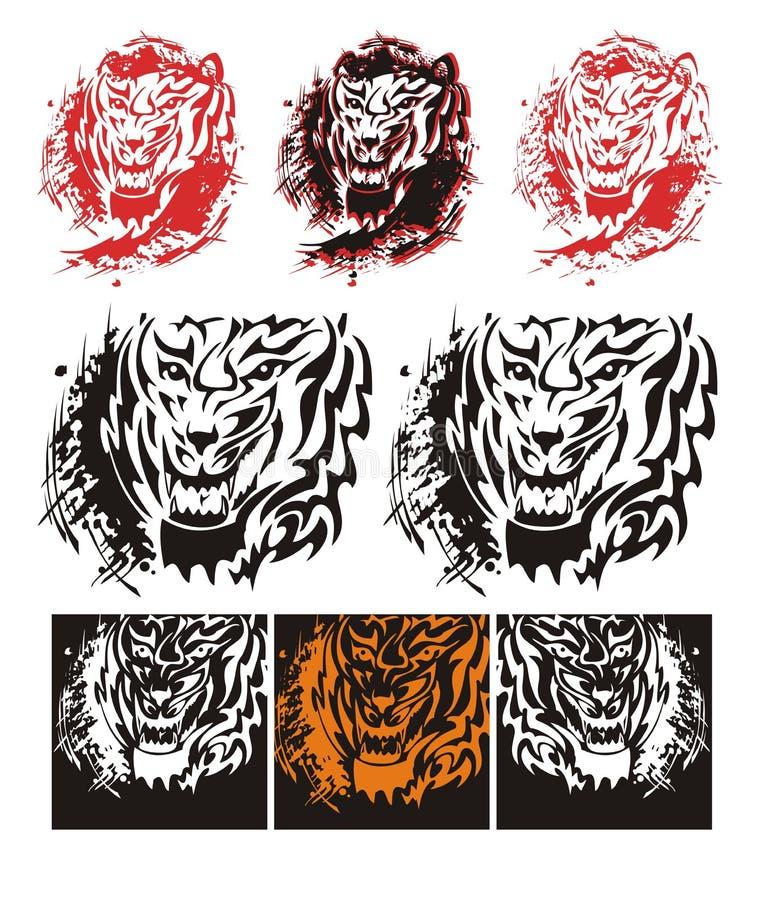 Stammes- Tigerbrüllen spritzt stock abbildung
