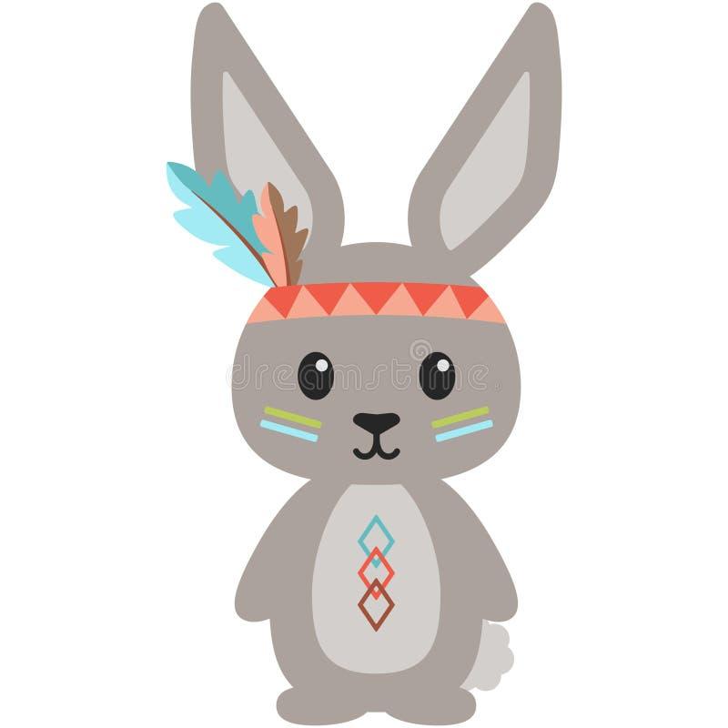 Stammes- Waldland Bunny Rabbit Illustration stock abbildung