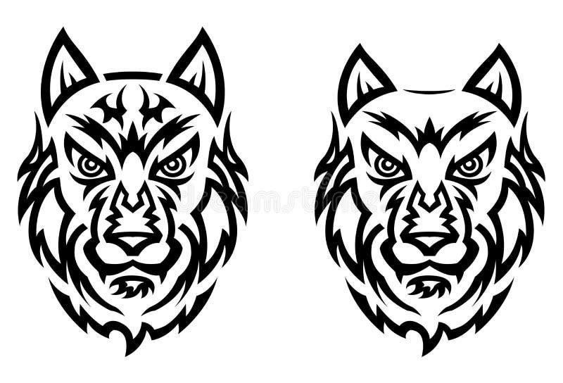 Stammes- Wolftätowierung vektor abbildung