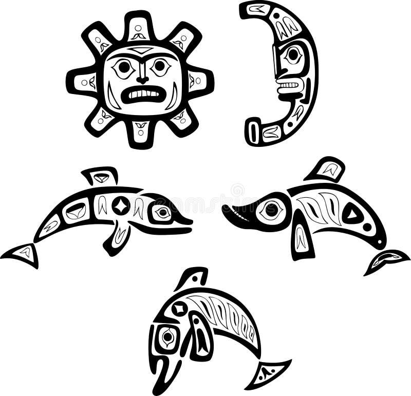 Stammes- Zeichnungen des gebürtigen Shoshone Fische, Sonne, Mond stock abbildung