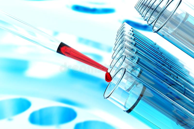 Stammzelle-Forschungspipettenwissenschafts-Laborversuch-Rohr-Laborglaswaren, Wissenschaftslaborforschung und entwicklung Konzept stockfoto