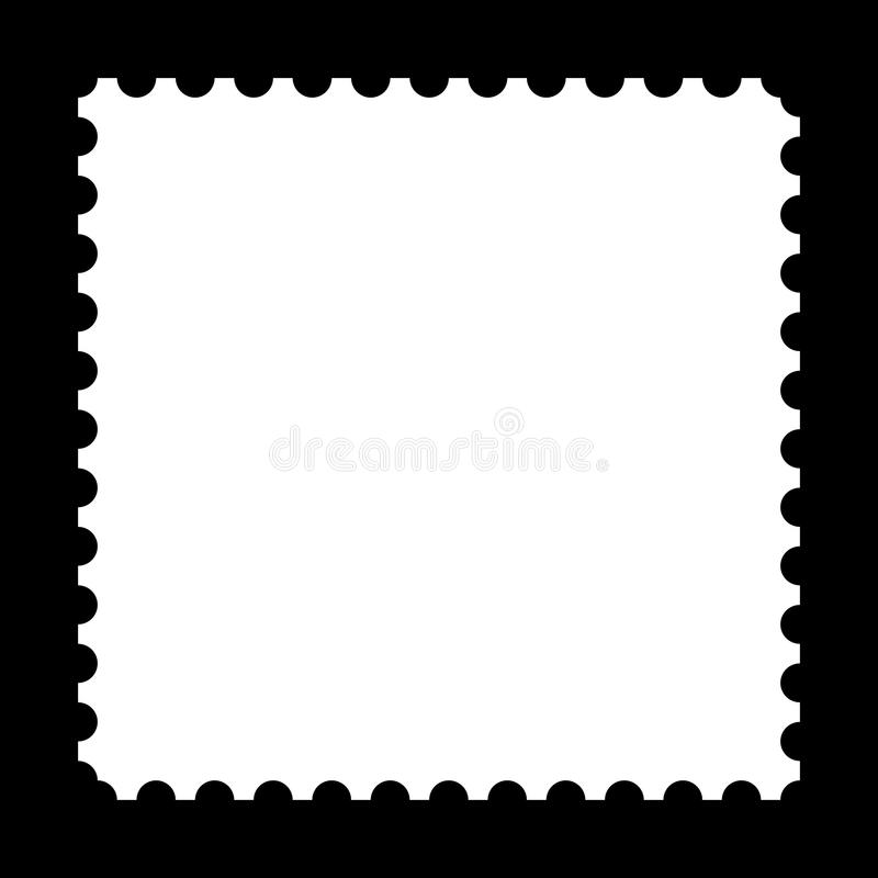 Stamp. Square stamp with copy space on black background royalty free illustration