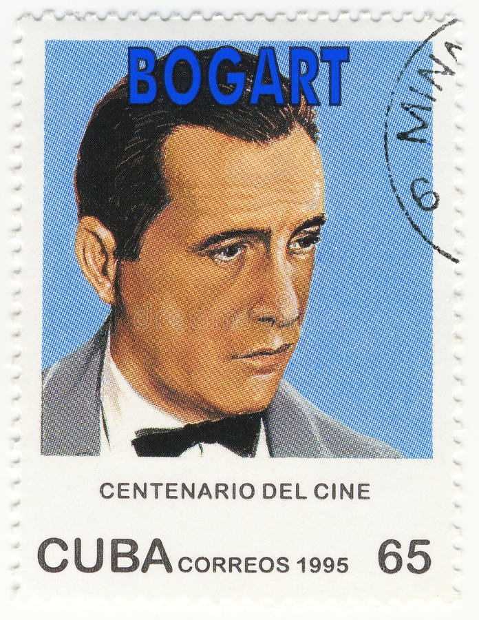 Stamp with actor Humphrey Bogart stock image