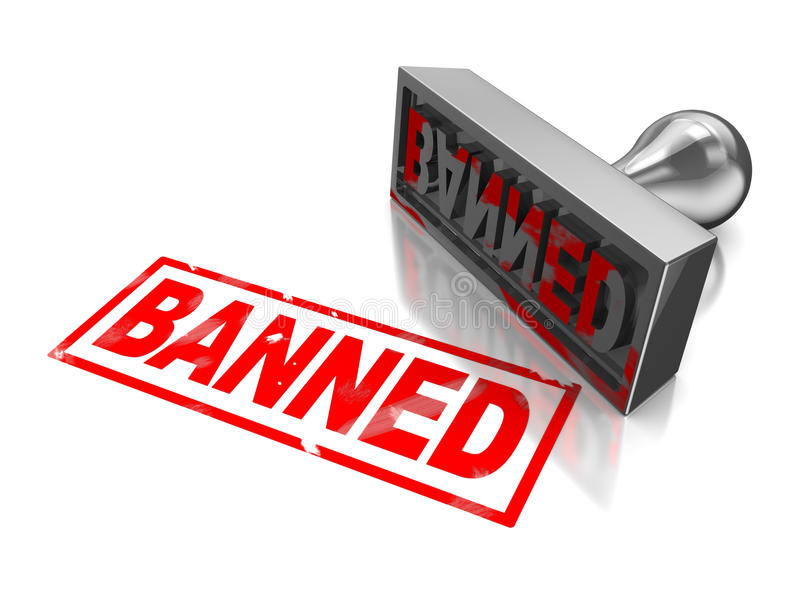 Stamp banned. With red text on white royalty free illustration