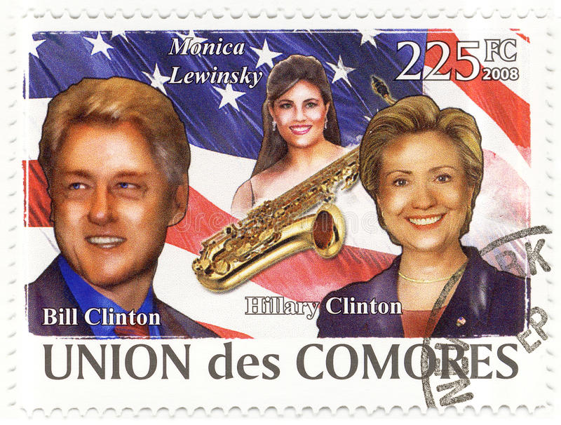 Download Stamp With Bill Clinton And Wife Hillary Editorial Image - Image: 10421650