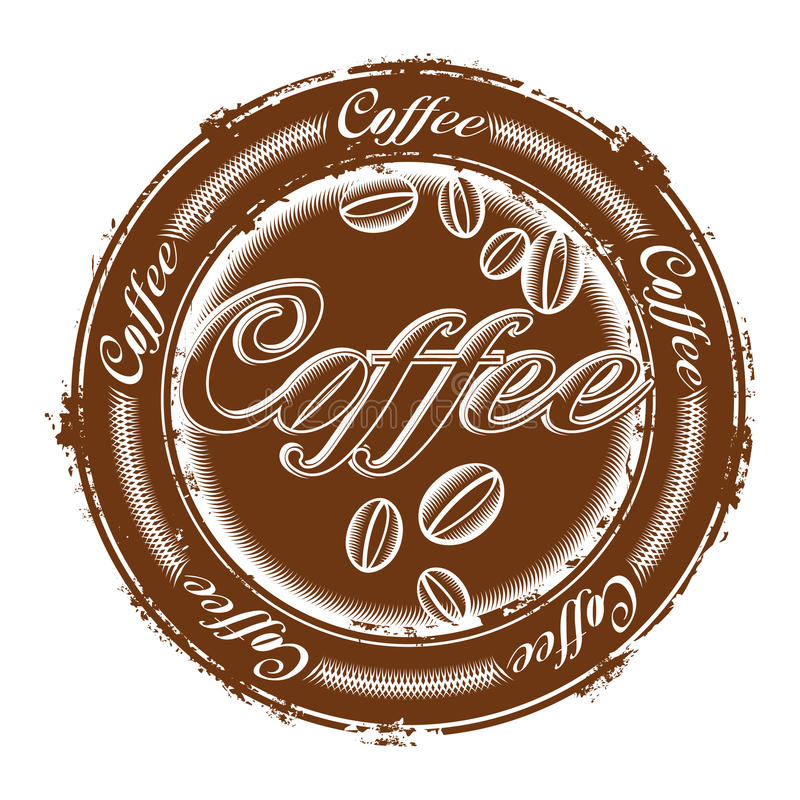Stamp with coffee beans stock illustration