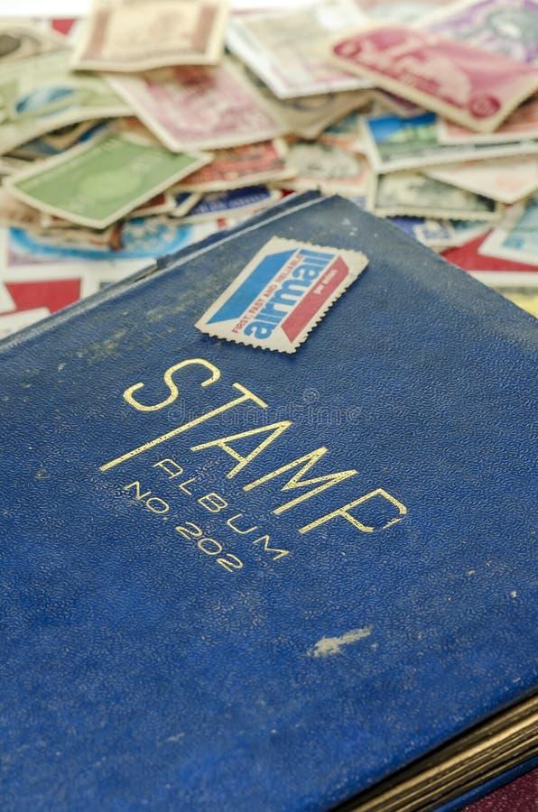 Stamp collecting book stock photos