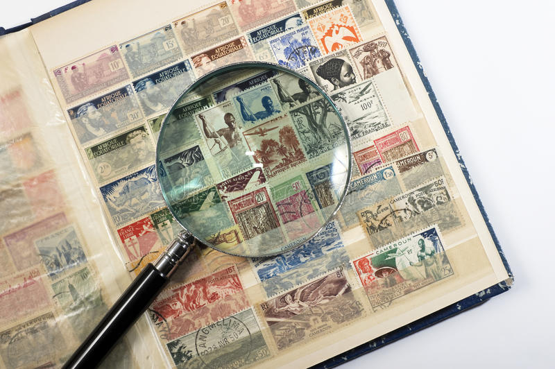 Download Stamp collection stock image. Image of magnifying, postage - 28920039