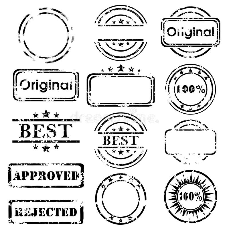 Stamp collection. Grunge black Stamp collection isolated